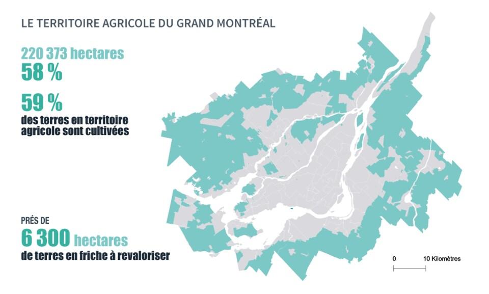 Carte du territoire agricole du Grand Montréal.