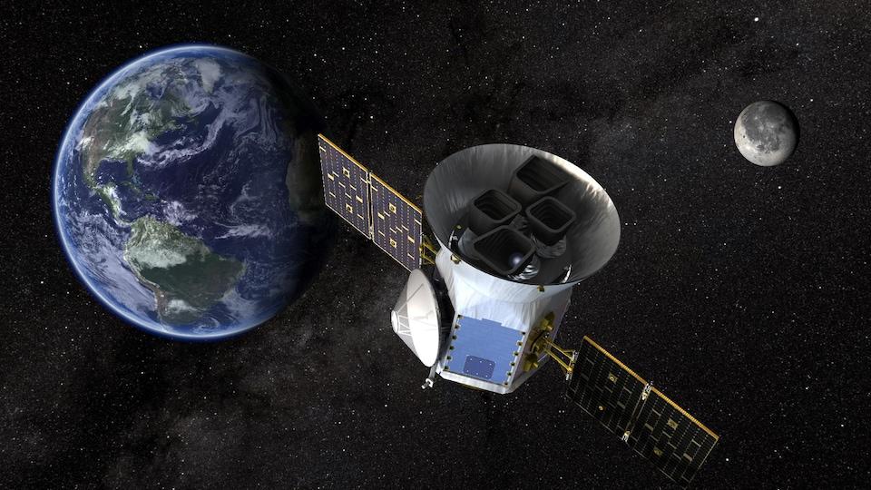 Représentation d'artiste du télescope TESS en orbite autour de la Terre, avec la Lune en arrière plan.