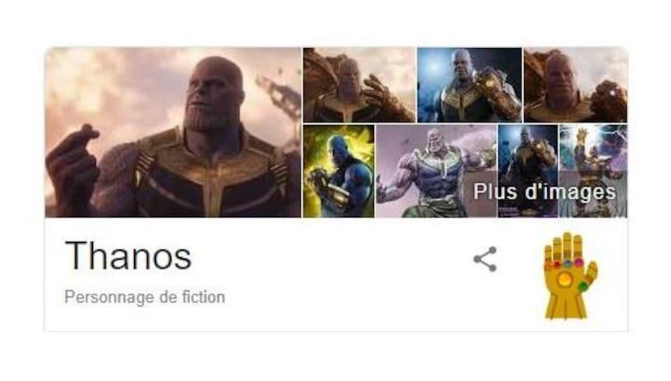 Dans les résultats de recherche Google, on rassemble plusieurs images de Thanos, sous lesquelles se trouve un gant doré serti de cinq pierres colorées.