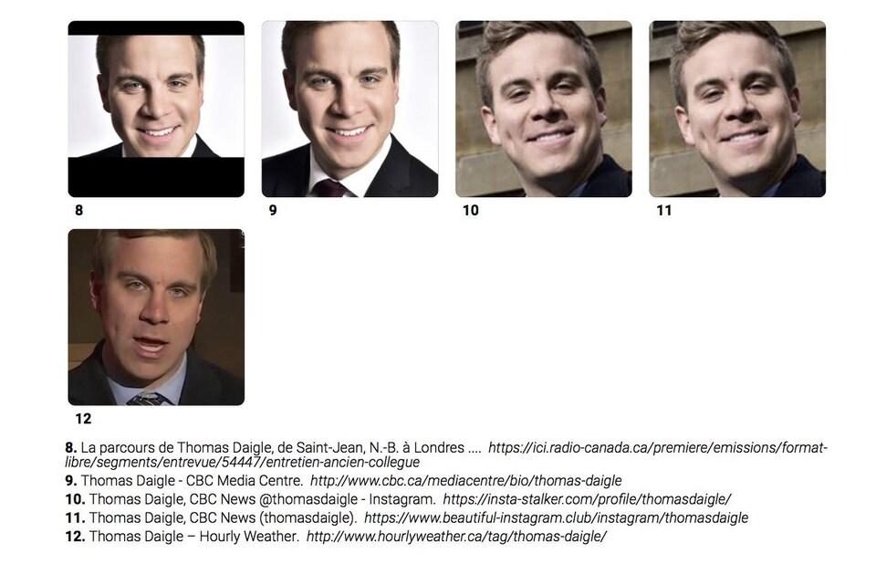 Cinq photos du journaliste Thomas Daigle, ainsi que les sources de celles-ci.