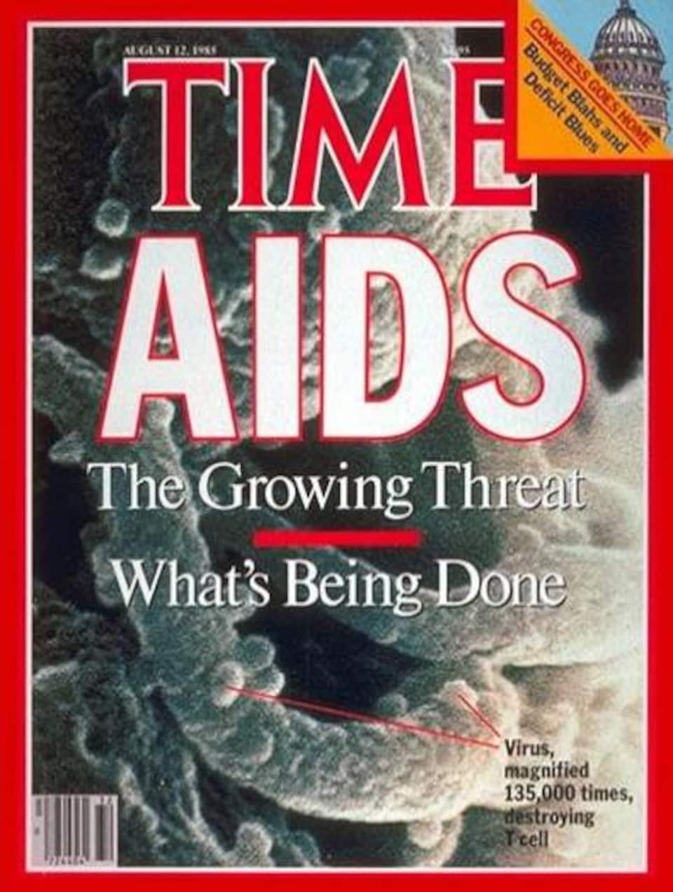 La une du magazine Time du 12 août 1985, où il est écrit AIDS.