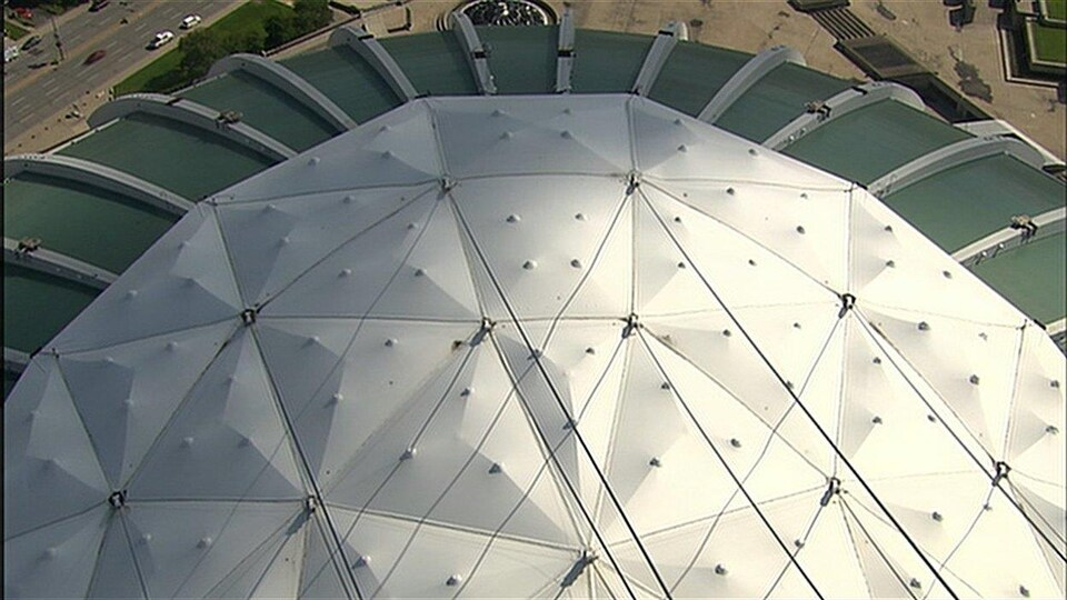 Le toit du stade olympique vu de haut