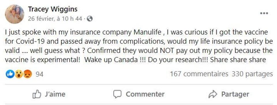 Capture d'écran d'une publication Facebook, en anglais.