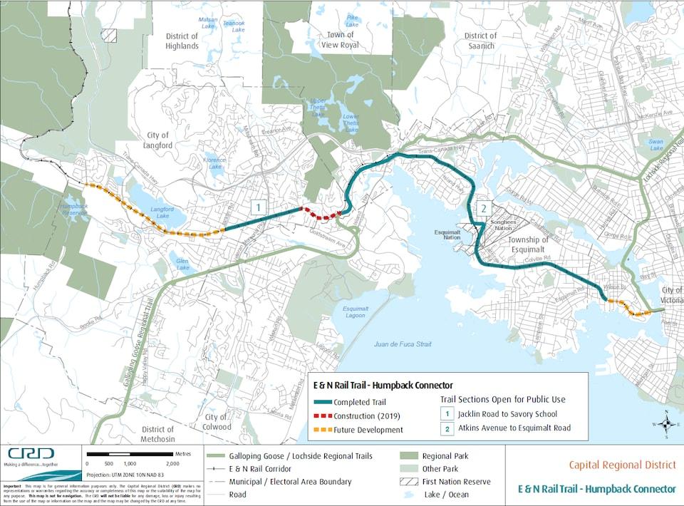 La carte de l'ancienne ligne de train E&N.