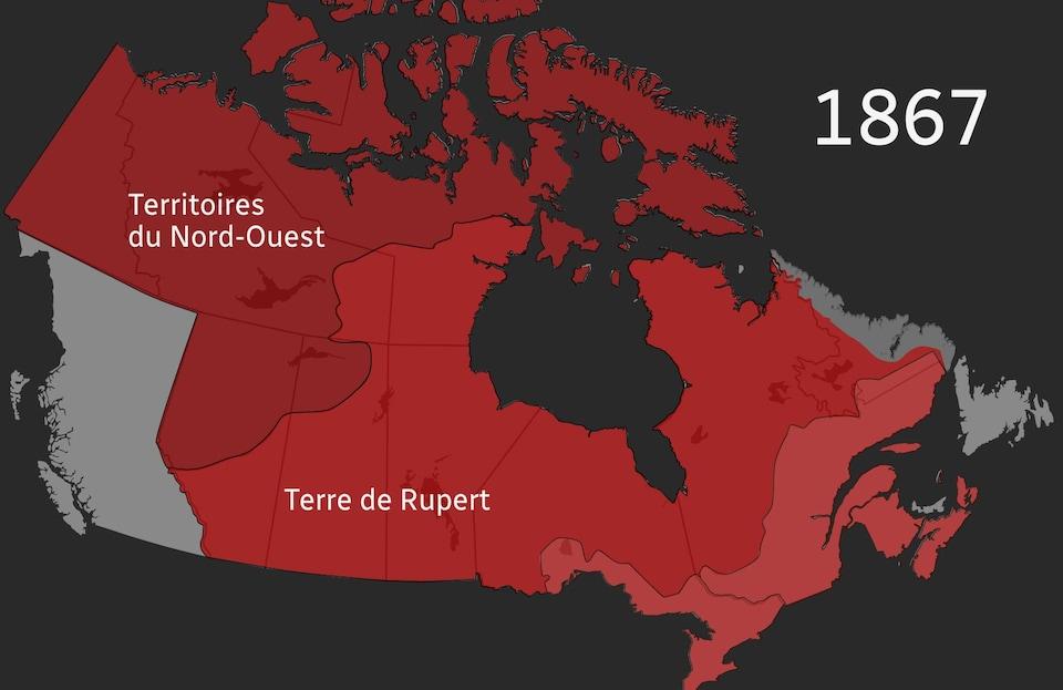 Sur une carte, le Dominion du Canada est représenté en rouge pâle, la Terre de Rupert en rouge et les Territoires du Nord-Ouest en rouge foncé.