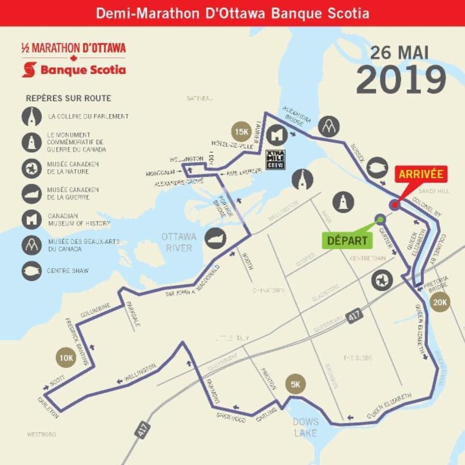 Carte montrant le parcours d'une course à pied à Ottawa.