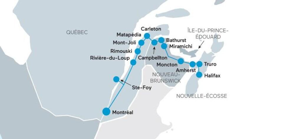 Carte géographique indiquant le trajet.