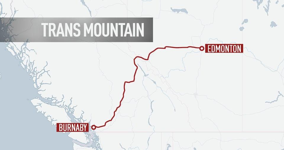 Tracé de l'oléoduc Trans Mountain de l'entreprise Kinder Morgan.
