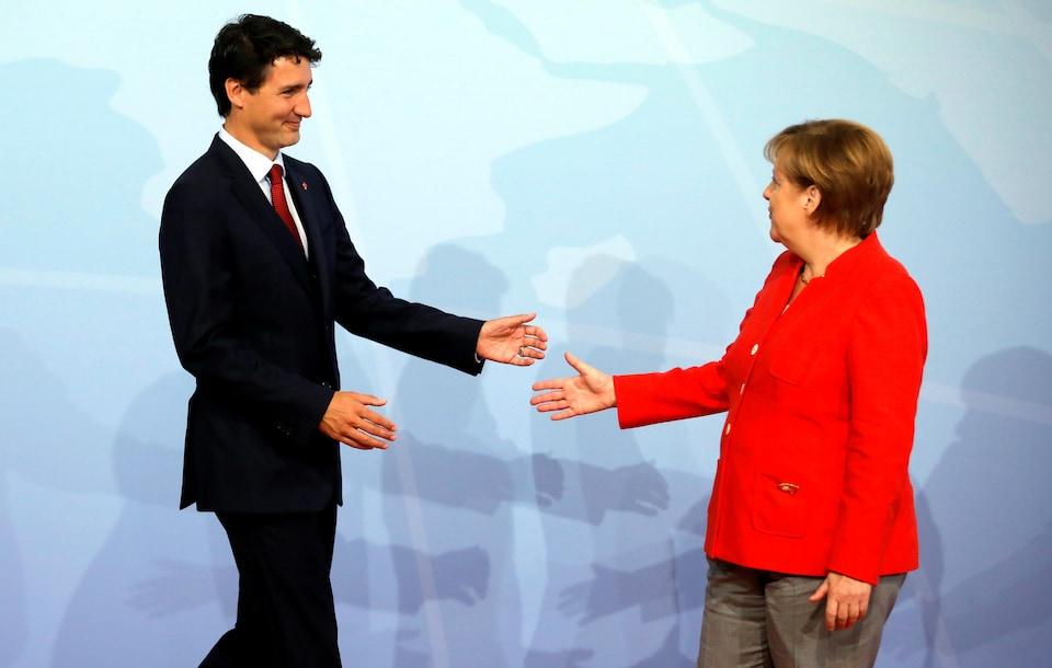 La chancelière allemande Angela Merkel et le premier ministre Justin Trudeau au G20