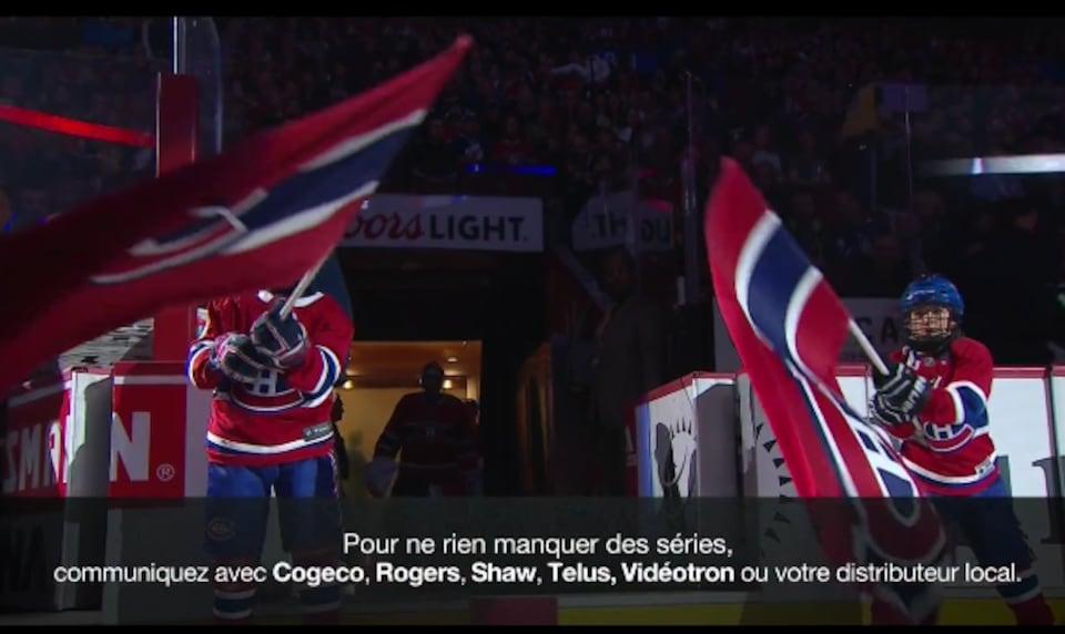 Ce message est apparu à l'écran lors de la diffusion du match du Canadien de Montréal, samedi, à TVA Sports.