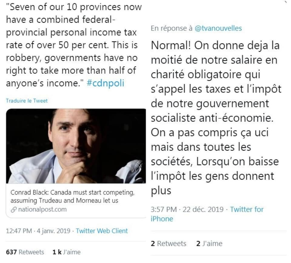 Deux tweets, l'un en anglais et l'autre en français, qui relaient des idées reçues sur le fait que l'on paie 50 % d'impôt.