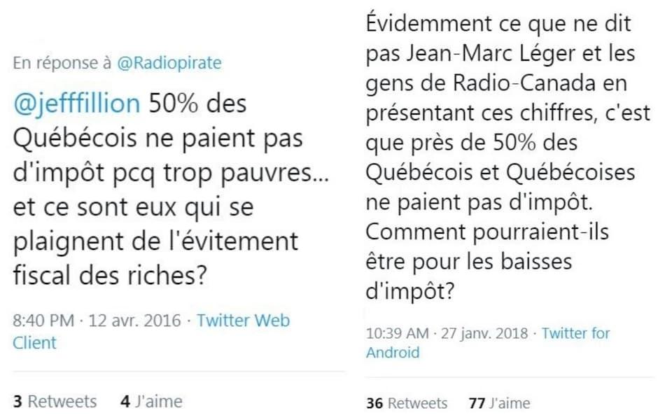 Exemples de messages publiés sur Twitter qui relaient une idée reçue selon laquelle la moitié des contribuables au Québec ne paient pas d'impôt.