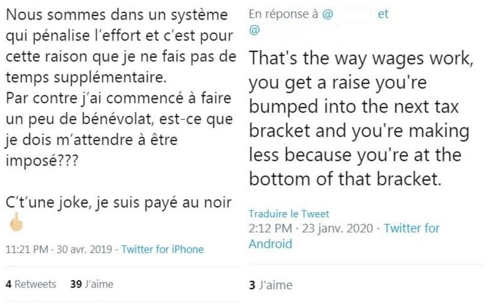 Deux messages extraits de Twitter, l'un en français et l'autre en anglais, qui relaient une idée reçue sur le risque de se retrouver avec moins d'argent au final lorsqu'on fait des heures supplémentaires au travail, en raison du système d'imposition.