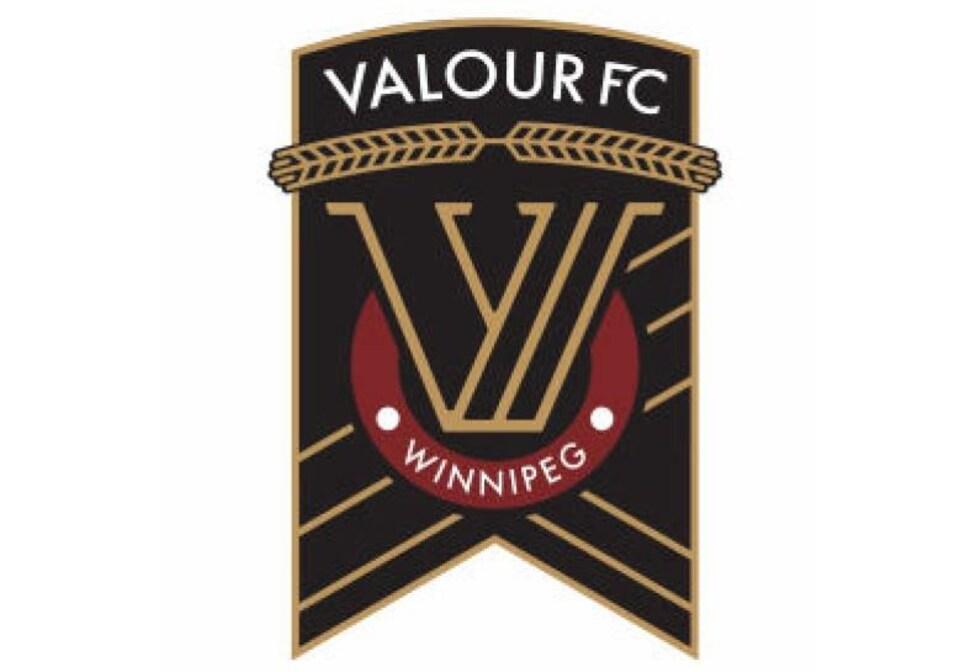 Le logo de la future équipe de soccer professionnelle de Winnipeg, où l'on peut deviner une médaille stylisée.