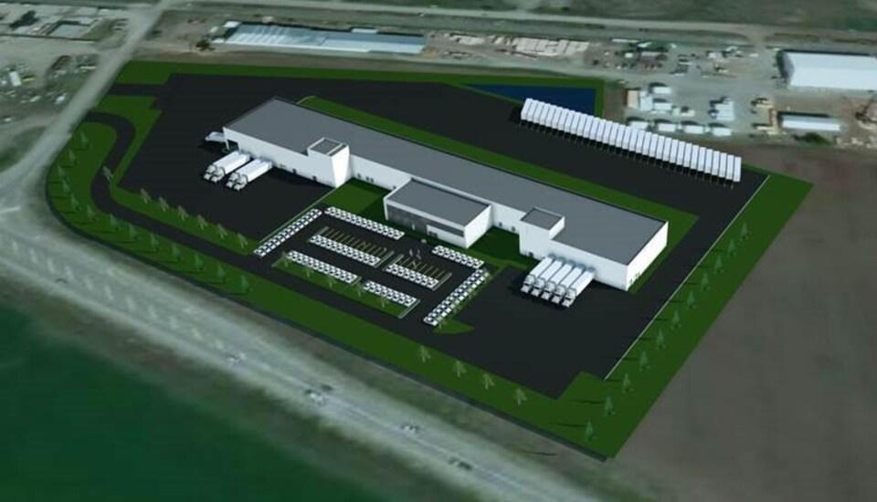 Plan de l'usine de transformation de la laitue qui sera construite à Coldstream, en Colombie-Britannique, par l'entreprise Vegpro