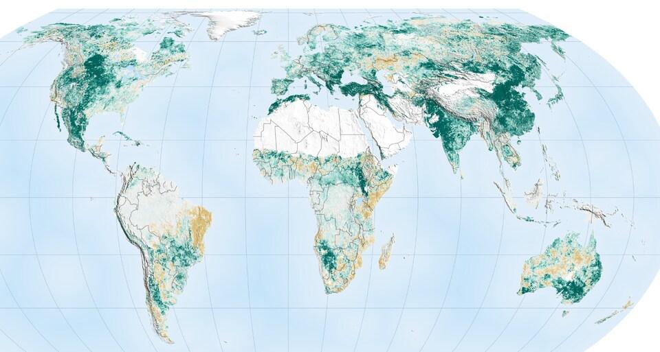 Carte montrant des zones plus vertes.