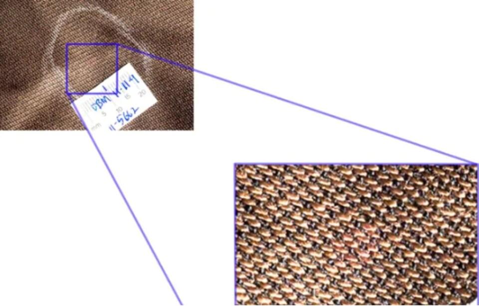 Une des taches de sang sur le veston brun de Dennis Oland (magnifiée à 500%).