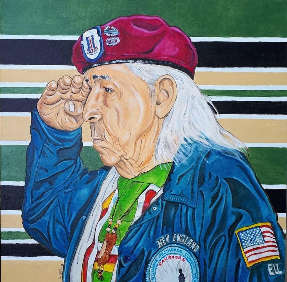 Peinture à l'huile intitulée Veteran Elder représentant un vétéran autochtone de la guerre de Corée effectuant un salut militaire.