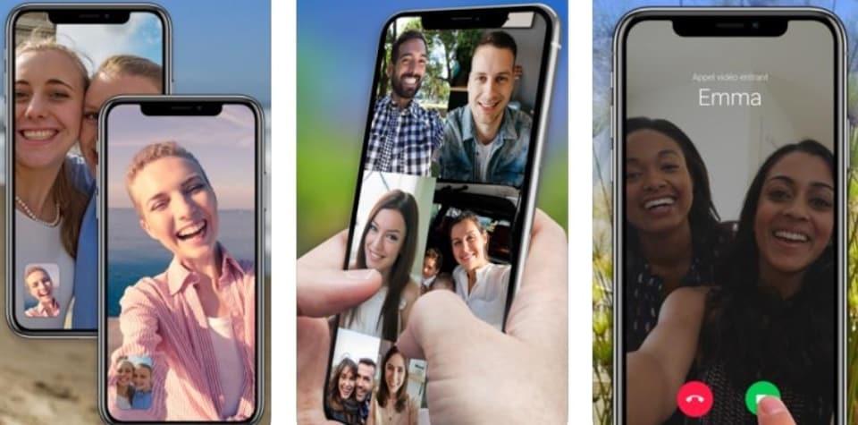 Trois photos de conversations vidéo sur Google Duo sur des téléphones cellulaires.