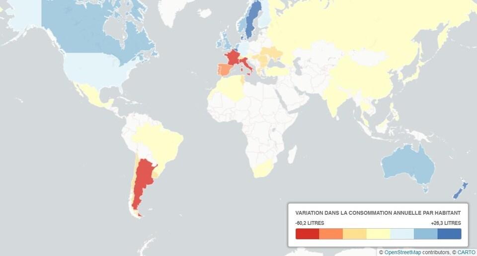 Carte du monde selon la consommation de vin par habitant.