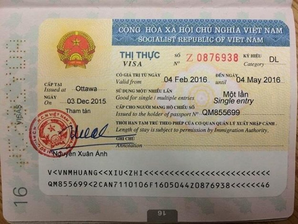 Modèle d'un visa émis par le Vietnam