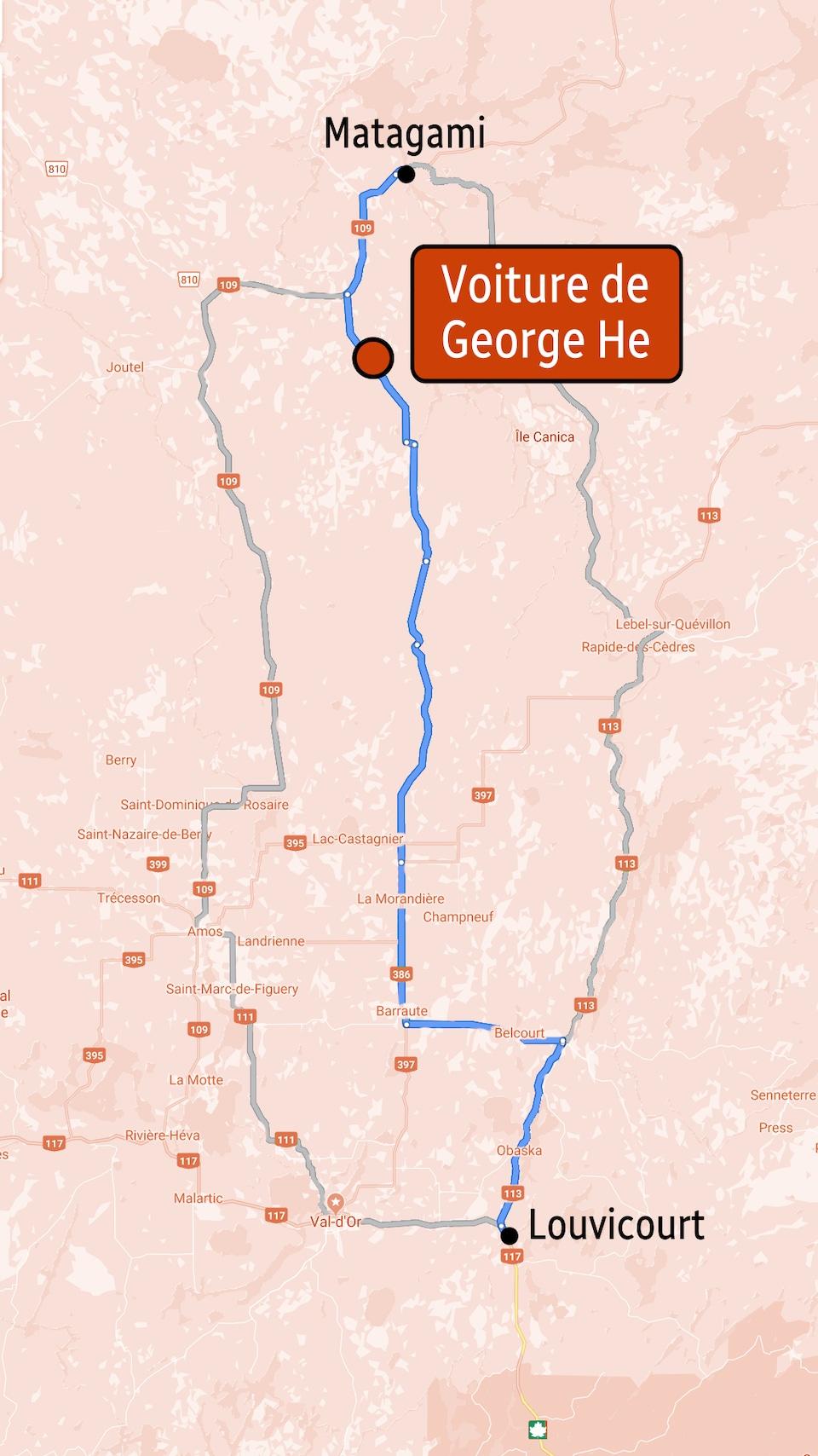 Une carte indique l'emplacement où la voiture de George He a été retrouvée.