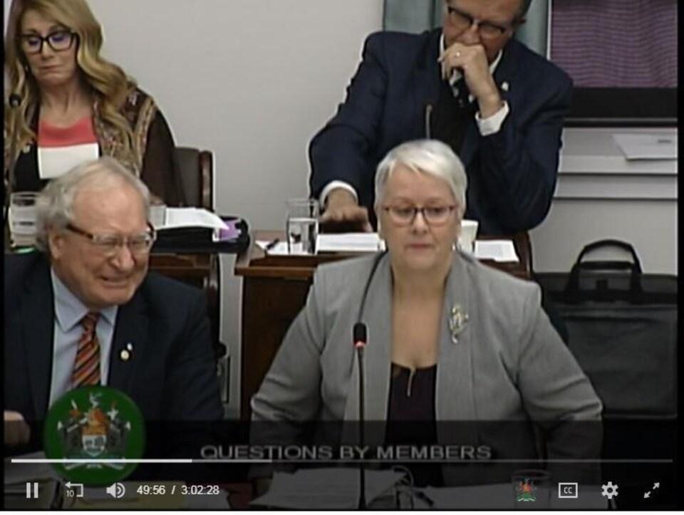 Le premier ministre Wade MacLauchlan a semblé s'esclaffer de rire au moment où la ministre Paula Biggar s'est excusée à l'Assemblée législative pour avoir répondu «I don't speak French» à un message qui lui avait été adressé en français.