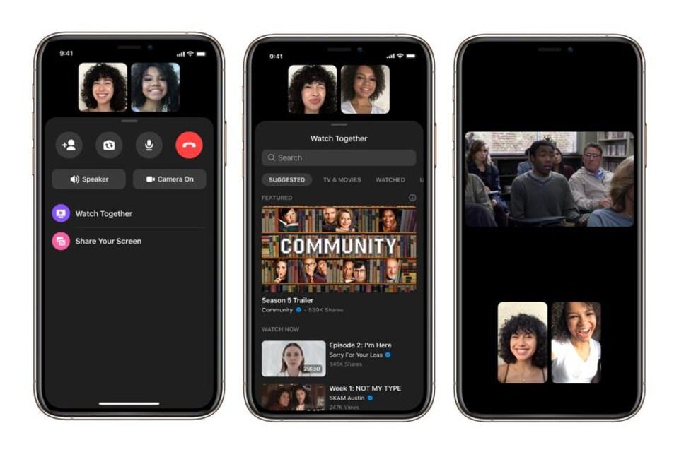 Des téléphones qui montrent la fonctionnalité Watch Together de Facebook Messenger.