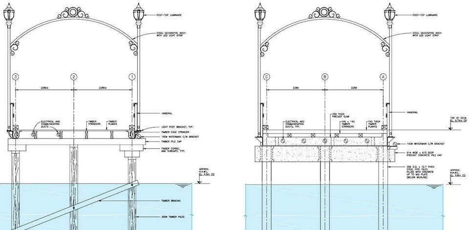 Des dessins d'une arche avec des notes autour.