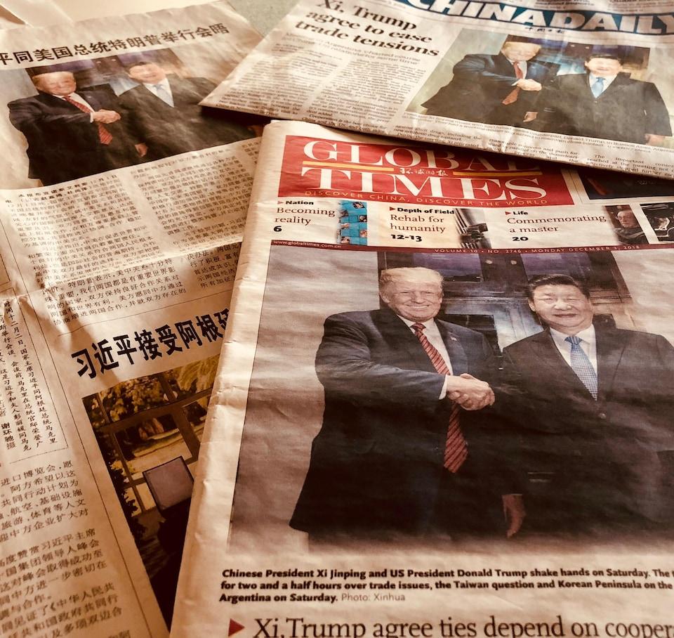 Les unes de quelques journaux chinois au lendemain de la trêve commerciale entre les États-Unis et la Chine. 3 décembre 2018