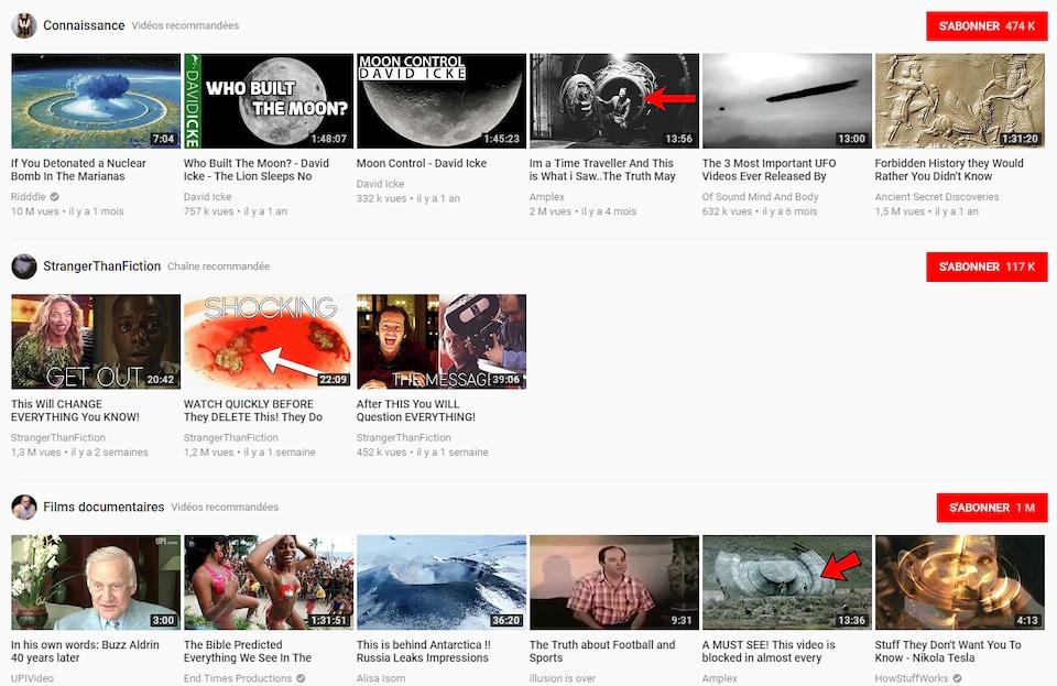 Nous voyons que des vidéos conspirationnistes de tous genres se retrouvent dans les sections «Connaissance» et «Films documentaires».