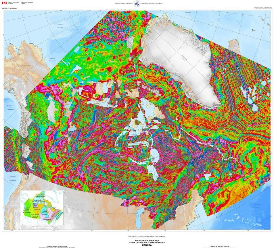 Une carte géographique du Canada avec de multiples couleurs représentant chacune un champ magnétique différent.