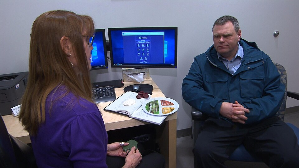 Une femme et un homme sont assis devant une assiette montrant des portions de nourriture.