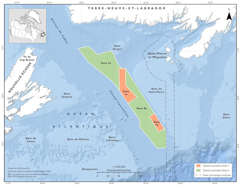 Le chenal Laurentien situé sur une carte.