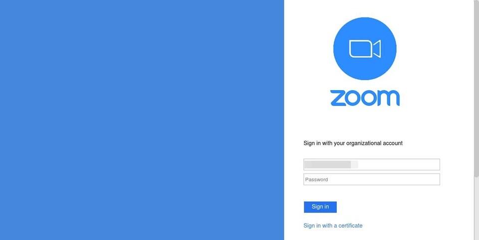 Capture d'écran d'une page web frauduleuse de connexion à Zoom.