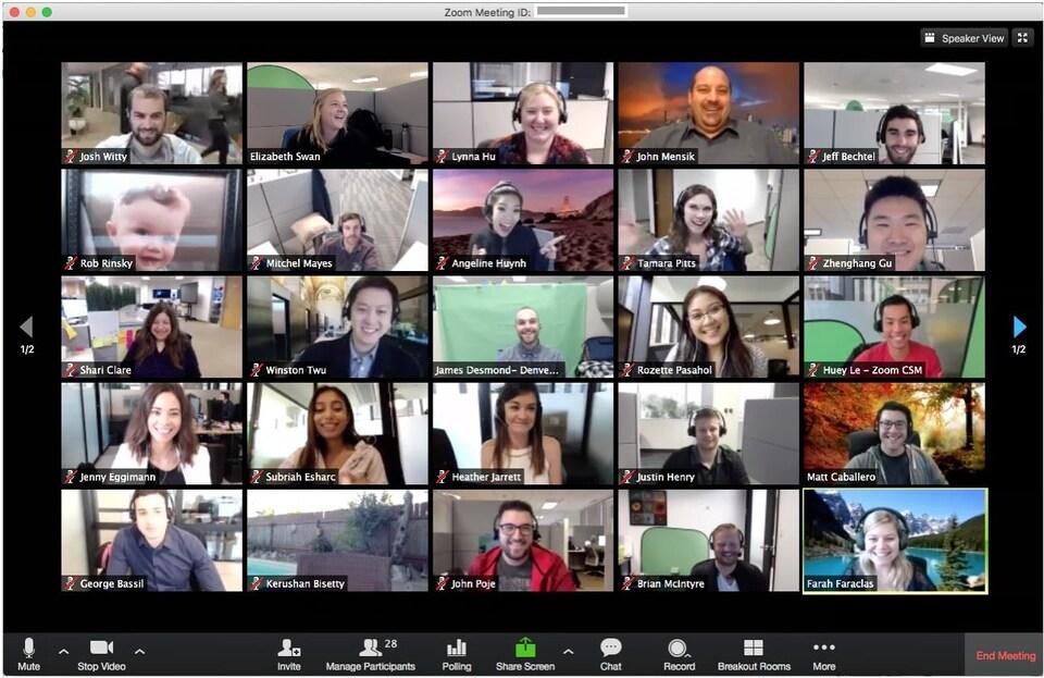 Une conversation vidéo, sur un ordinateur, entre 36 personnes.