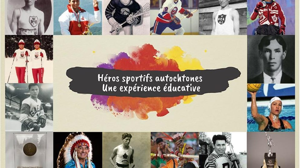 Interface de l'expérience éducative : Héros sportifs autochtones avec quelques photos des athlètes autochtones inclus dans les différents chapitres du programme.