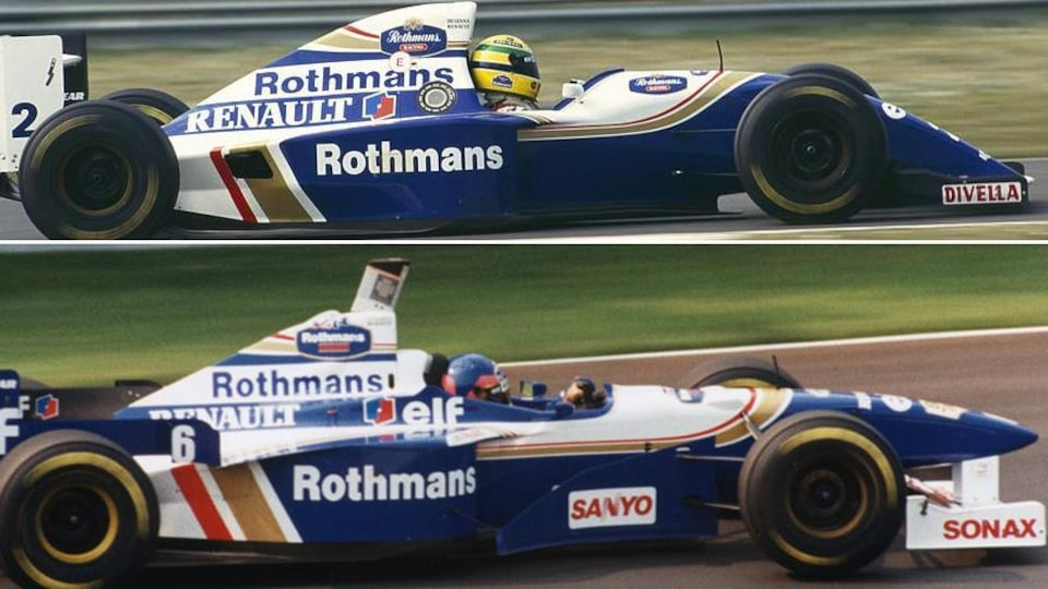 Ayrton Senna en 1994 et Jacques Villeneuve en 1996