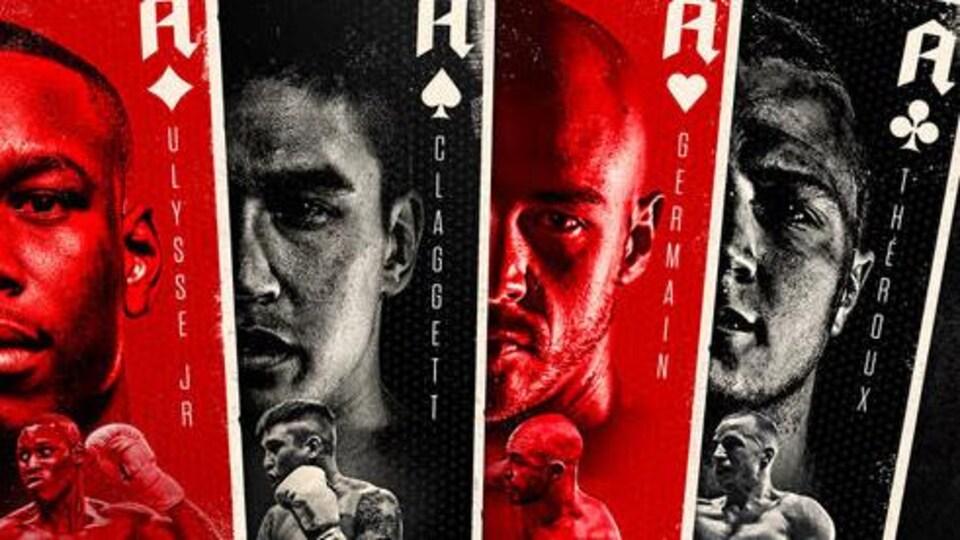 Une affiche promotionnelle de boxe rouge et noire