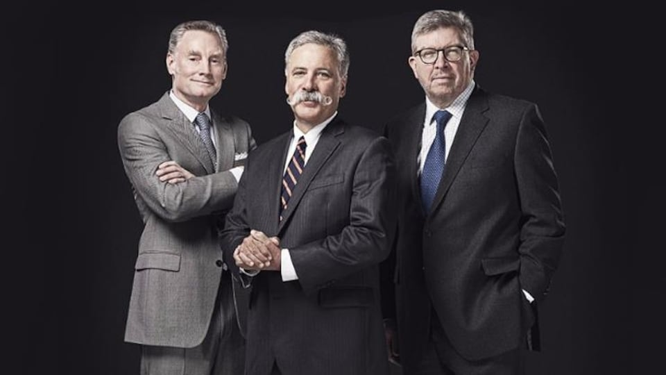 Le trio du groupe Formula One : Sean Bratches (commercial), Chase Carey (président) et Ross Brawn (sportif).