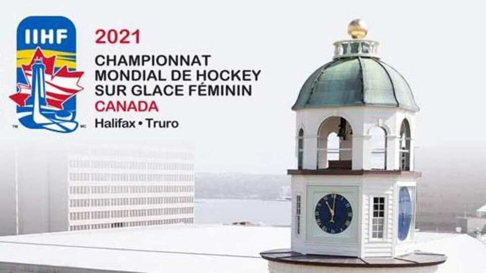 L'affiche du Championnat du monde de hockey féminin de 2021 en Nouvelle-Écosse