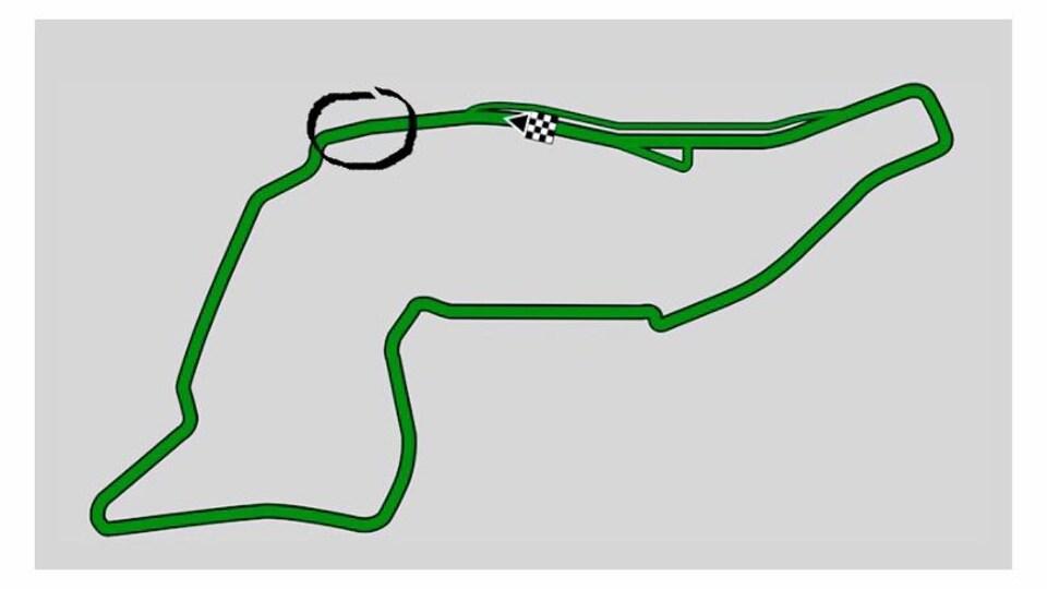 La piste est en vert sur fond gris.