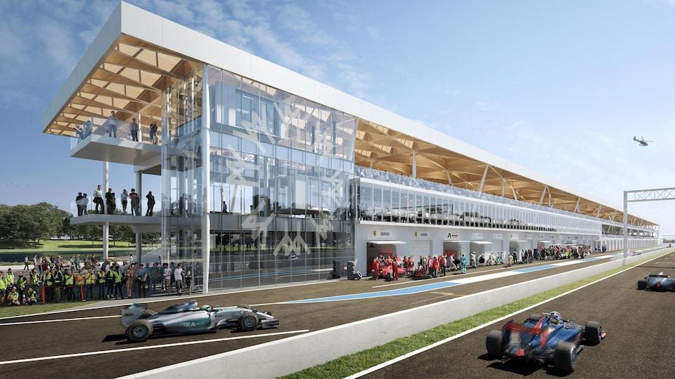 L'entrée des puits du nouveau complexe du circuit Gilles-Villeneuve