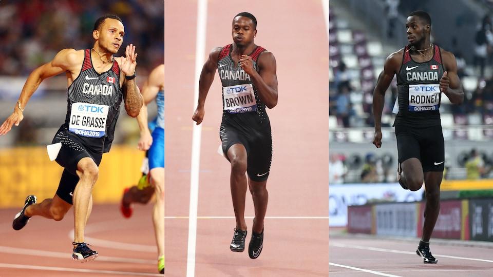 Montage photo des trois sprinteurs en action