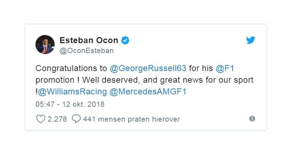 Le message de félicitations d'Esteban Ocon à George Russell