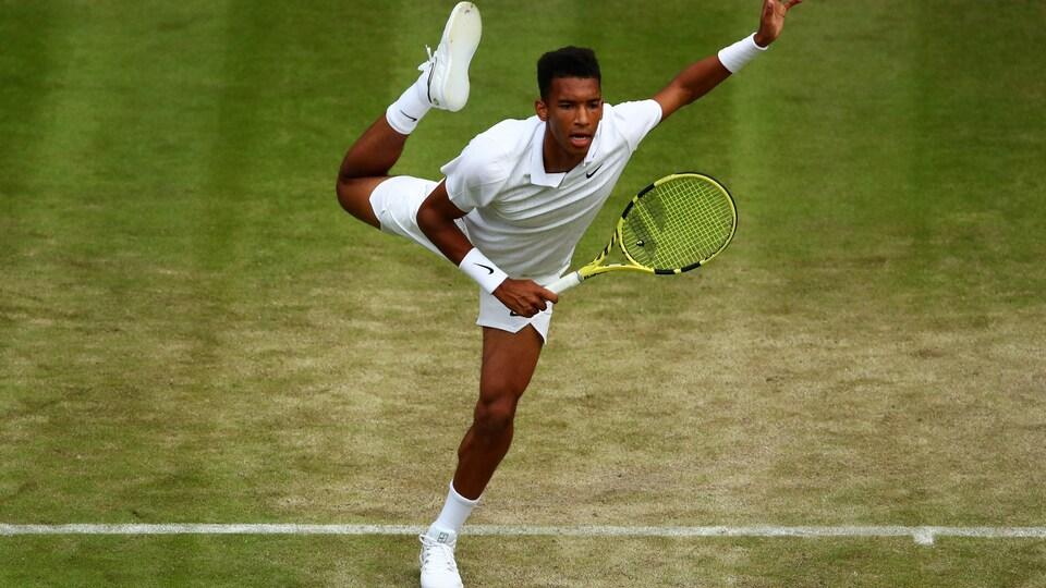 En action lors d'un match à Wimbledon
