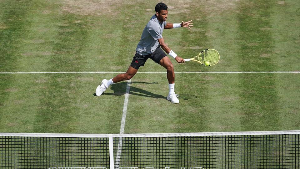 Un joueur de tennis vêtu de gris et de noir frappe une balle à la volée du revers lors d'un match sur gazon.