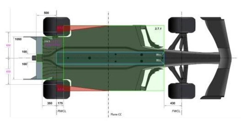 Dessin de la nouvelle coupe du fond plat d'une F1 en 2021, plus effilée devant les roues arrière (en rouge, ce qui disparaît).