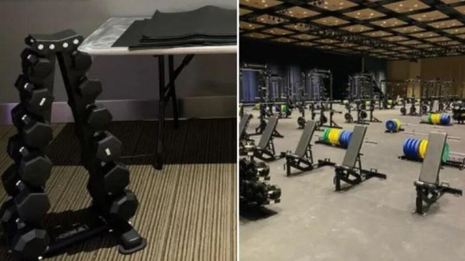 Deux photos de salles d'entraînement