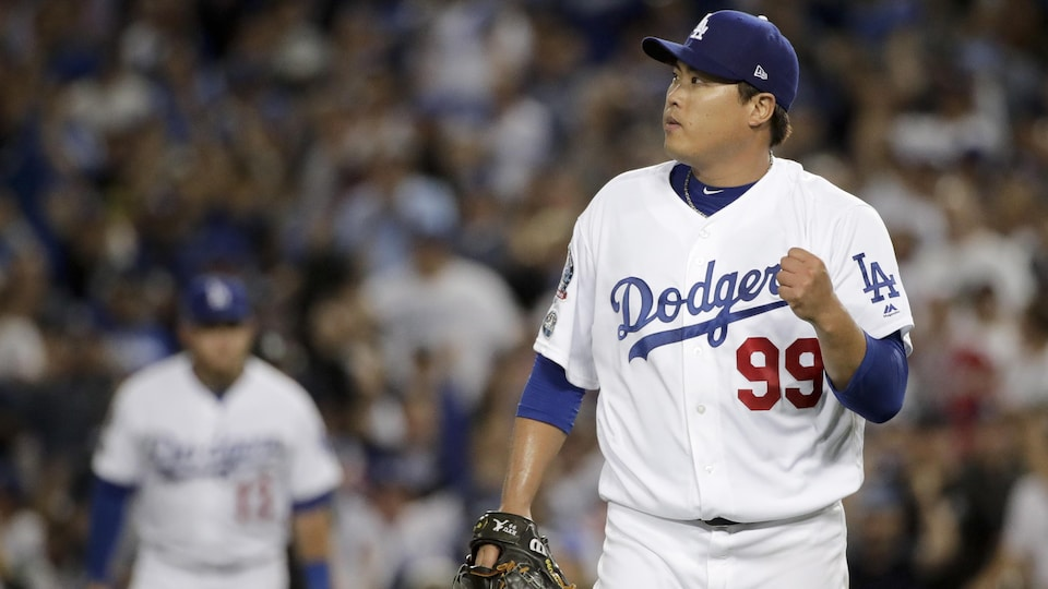 Hyun-Jin Ryu célèbre à la fin de la 7e manche face aux Braves (archives).